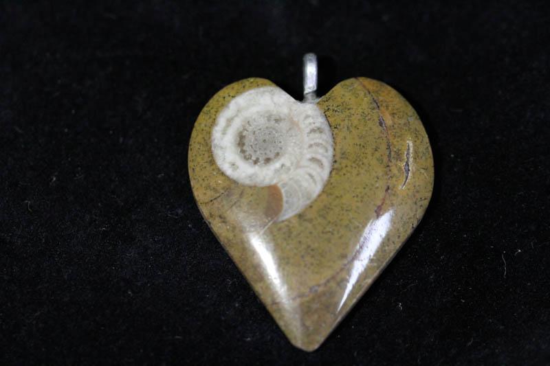Ammonite Pendant A grade - Heart-0