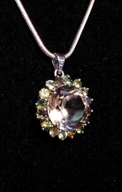 Pendant with Australian Citrine and Australian Party Sapphires-2253