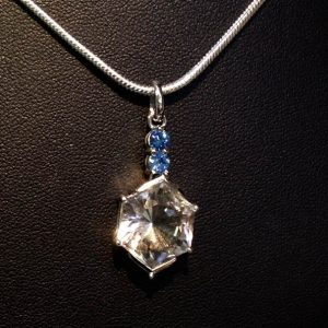 Pendant with Clear Quartz and Blue Sapphire -0