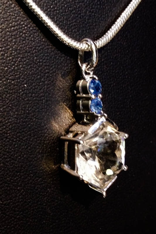Pendant with Clear Quartz and Blue Sapphire -2247