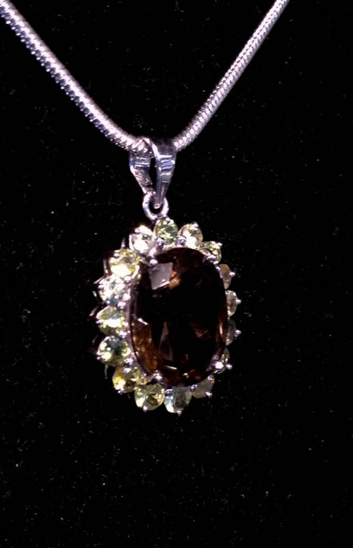 Pendant with Australian Citrine and Australian Party Sapphires-2255