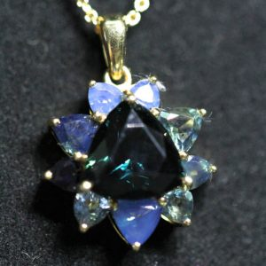 Pendant with Trilliant Cut Australian Blue Sapphire -0
