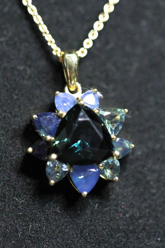 Pendant with Trilliant Cut Australian Blue Sapphire -0