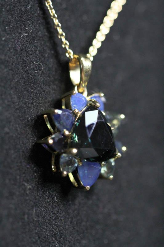 Pendant with Trilliant Cut Australian Blue Sapphire -2244