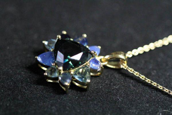 Pendant with Trilliant Cut Australian Blue Sapphire -2246