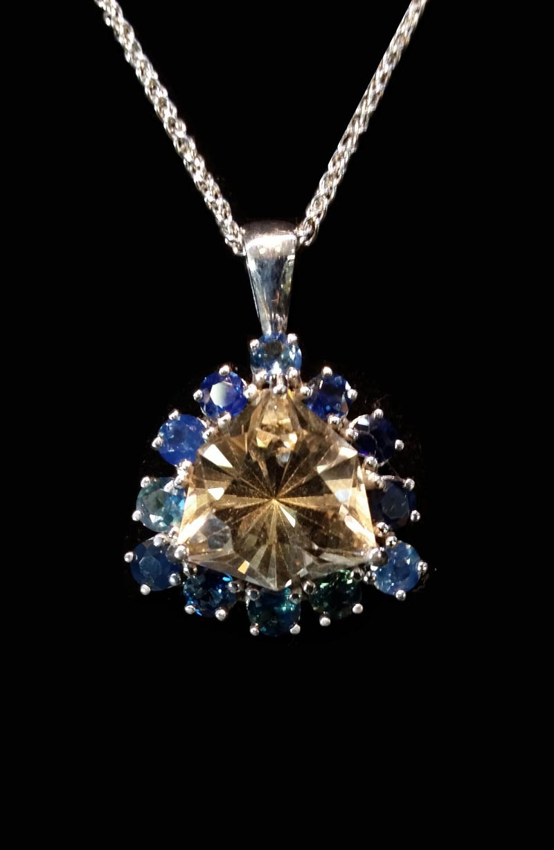 Pendant with Australian Citrine and Australian Party Sapphires-0