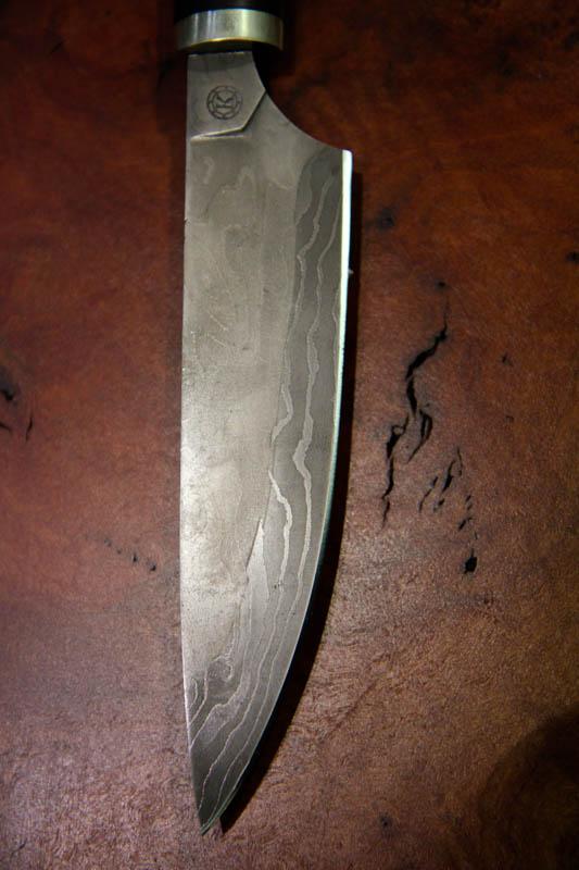 Mammoth Ivory Damascus Steel Kitchen Knife-3242